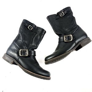 Frye Veronica Leather Buckle Boots Black Size 7.5